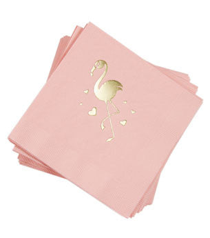 Flamingo Napkins: Blush/Gold 25 ct