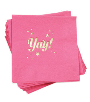 Yay Napkins: Hot Pink/Gold 25 ct