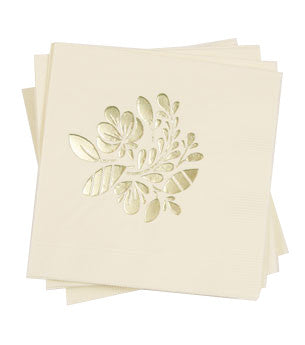 Floral Napkins: Ecru/Gold 50 ct