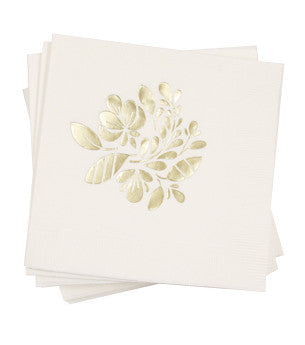 Floral Napkins: White/Gold 50 ct