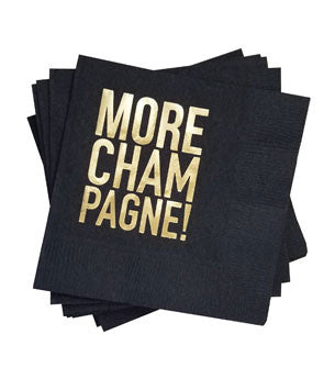 More Champagne Napkins: Black/Gold 25 ct