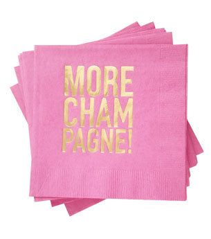 More Champagne Napkins: Bright Pink/Gold 25 ct