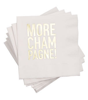 More Champagne Napkins: White/Gold 25 ct