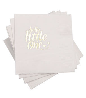 Hello Little One Napkins: White/Gold 25 ct