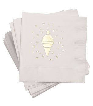 Cones & Sprinkles Napkins: White/Gold 25 ct