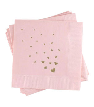 Flutter Hearts Napkins: Blush/Gold 25ct
