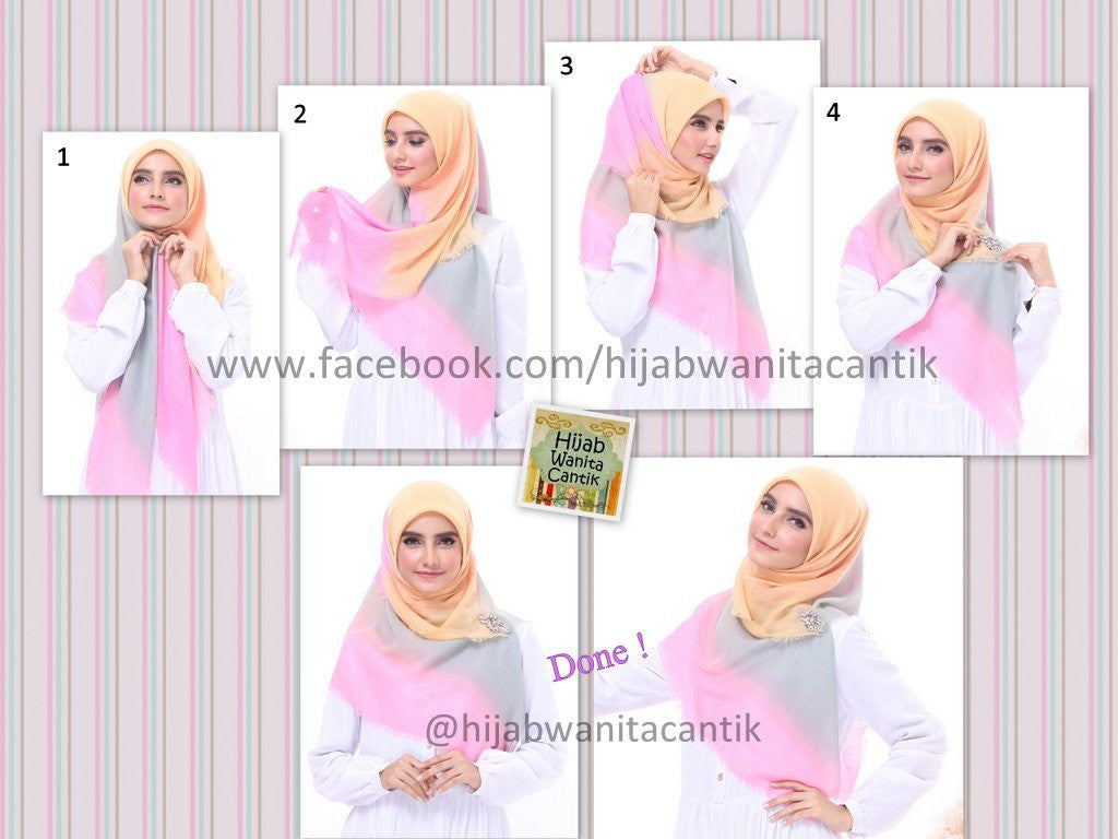 Hijab Tutorial Segiempat Lovely Rainbow