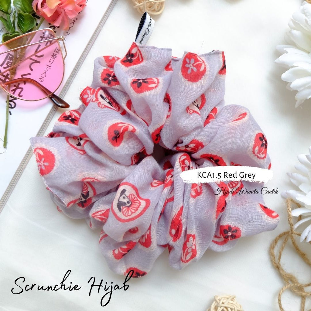 Scrunchie Hijab Voal Ikat Rambut Anti Pusing KCA1.5 Red Grey