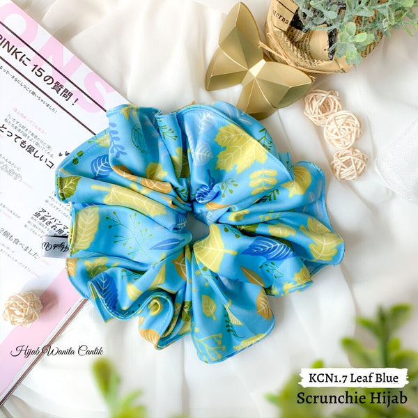 Scrunchie Hijab Satin Ikat Rambut Anti Pusing KCN1.7 Leaf Blue