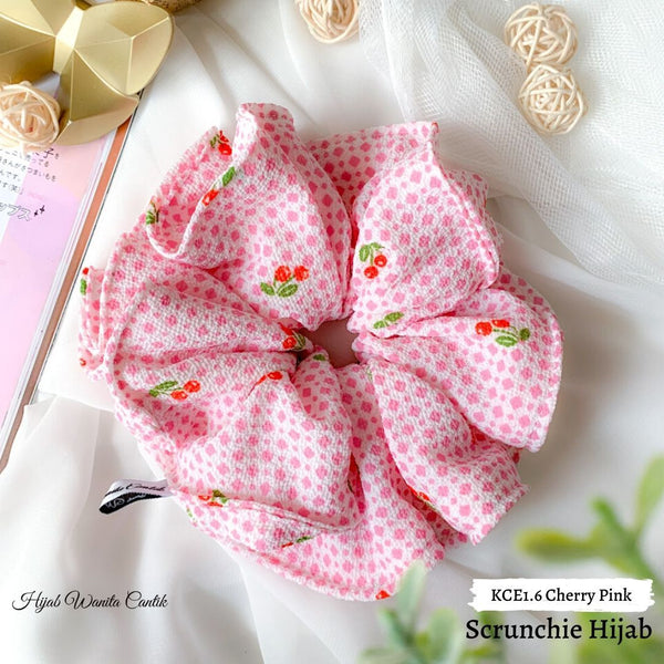 Scrunchie Hijab Bubble Ikat Rambut Anti Pusing KCE1.6 Cherry Pink