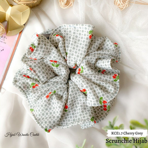 Scrunchie Hijab Bubble Ikat Rambut Anti Pusing KCE1.7 Cherry Grey