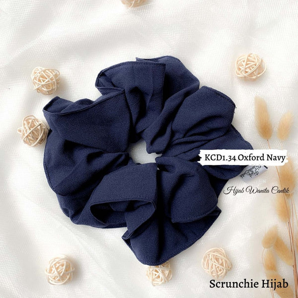 Scrunchie Hijab Diamond  Ikat Rambut Anti Pusing KCD1.34 Oxford Navy
