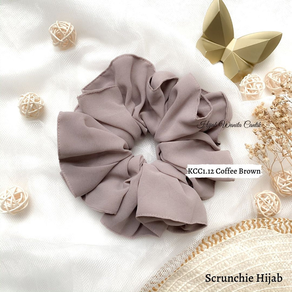 Scrunchie Hijab Cerutti Ikat Rambut Anti Pusing KCC1.12 Coffee Brown