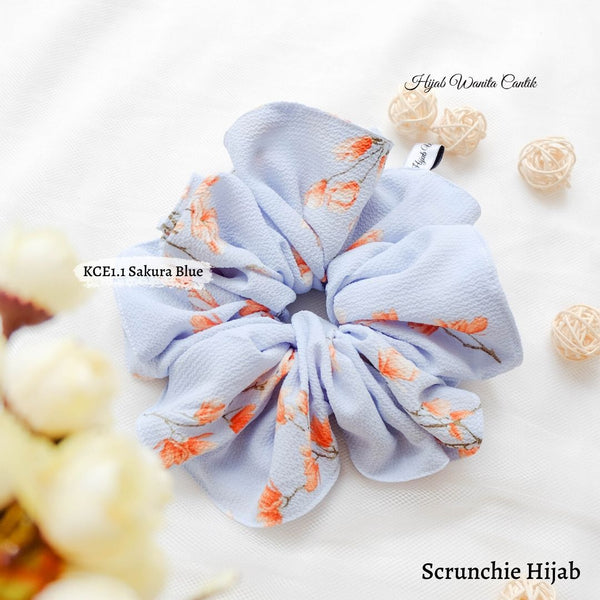 Scrunchie Hijab Bubble Ikat Rambut Anti Pusing KCE1.1 Sakura Blue