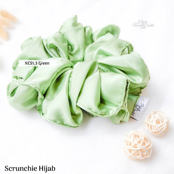 Scrunchie Hijab Satin Ikat Rambut Anti Pusing KCS1.3 Green