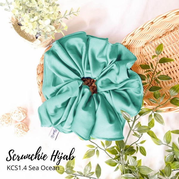 Scrunchie Hijab Satin Ikat Rambut Anti Pusing KCS1.4 Sea Ocean