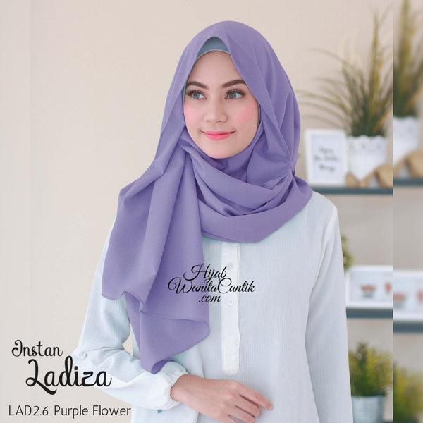 Pashmina Instan Ladiza - LAD2.6 Purple Flower