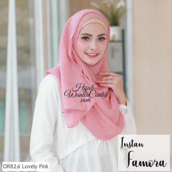 Pashmina Instan Famora - OR82.6 Lovely Pink