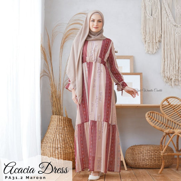 Acacia Dress - PA31.2 Maroon
