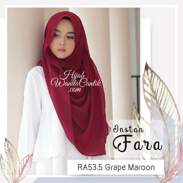 Pashmina Instan Fara - RA53.5 Grape Maroon