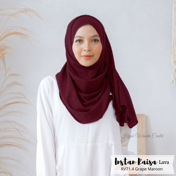 Pashmina Instan Raisa Lava - RV71.4 Grape Maroon