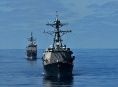 "USS Halsey DD-97 front and USS Bunker Hill CG-52 PACIFIC OCEAN May 20, 2012 - 8 x 10"" Photograph"