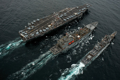 "USS Abraham Lincoln CVN-72, USNS Guadalupe T-AO 200 and USS Cape St. George CG-71 PACIFIC OCEAN (Sept. 26, 2011) - 4"" x 6"" Photograph"