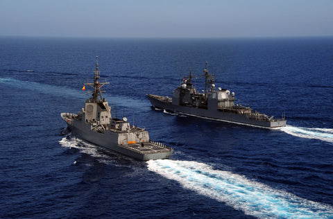 "Spanish Navy ESPS Almirante Juan De Borbon F102 and USS Gettysburg CG-64 MEDITERRANEAN SEA (June 9, 2011) - 4"" x 6"" Photograph"