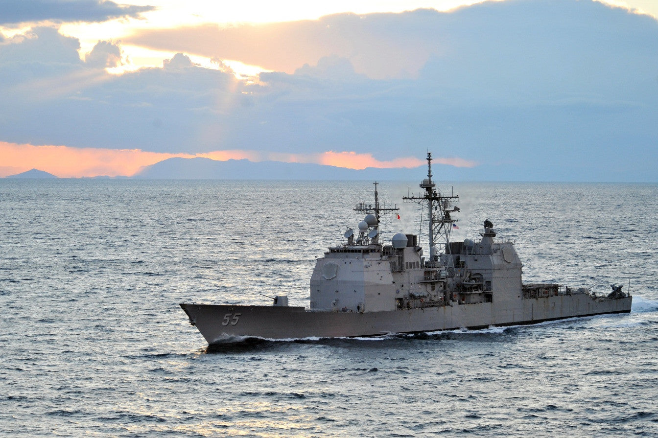 "USS Leyte Gulf CG-55 Transits the Strait of Gibraltar (Jan. 31, 2011) - 4"" x 6"" Photograph"