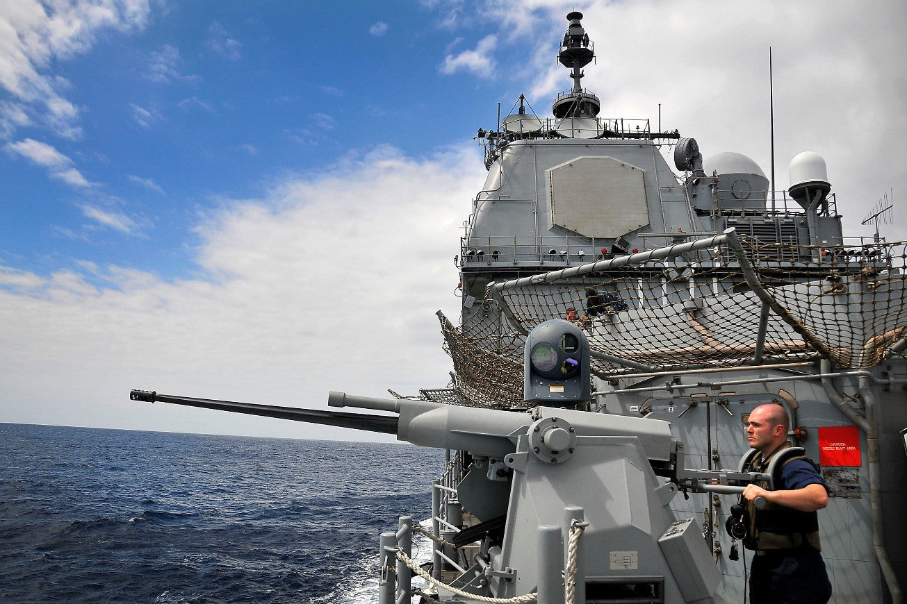 "USS Bunker Hill CG-52, MK 38 25mm Machine Gun PACIFIC OCEAN (March 22, 2010) - 4"" x 6"" Photograph"