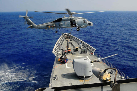 "Pilots in an SH-60B Helicopter Delivers Supplies to USS Lake Champlain CG-57 GULF OF ADEN (May 28, 2009) - 4"" x 6"" Photograph"
