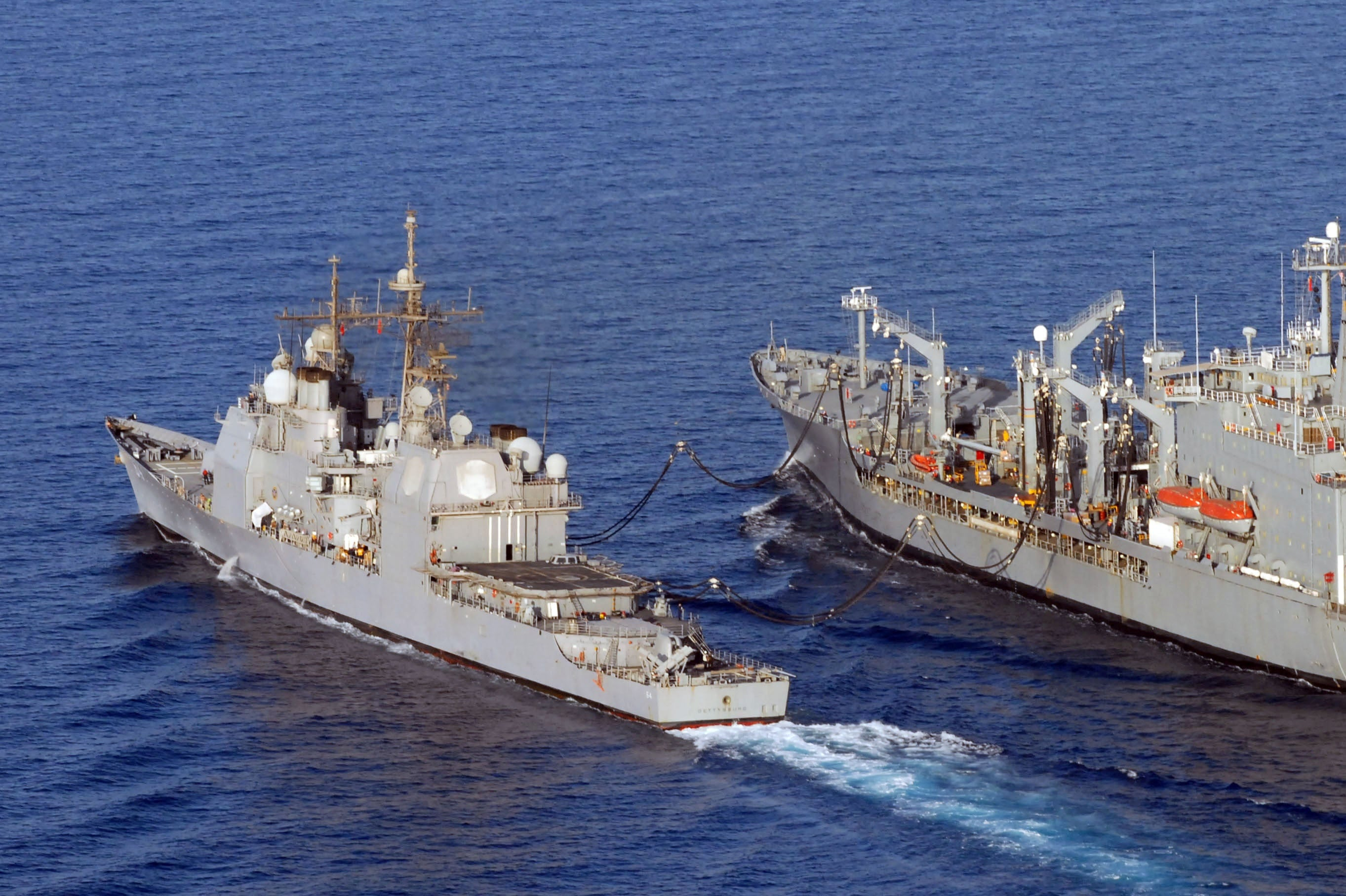 "USS Gettysburg CG-64 Conducts an Underway Replenishment with USNS Walter S. Diehl T-AO 193 - 4"" x 6"" Photograph"