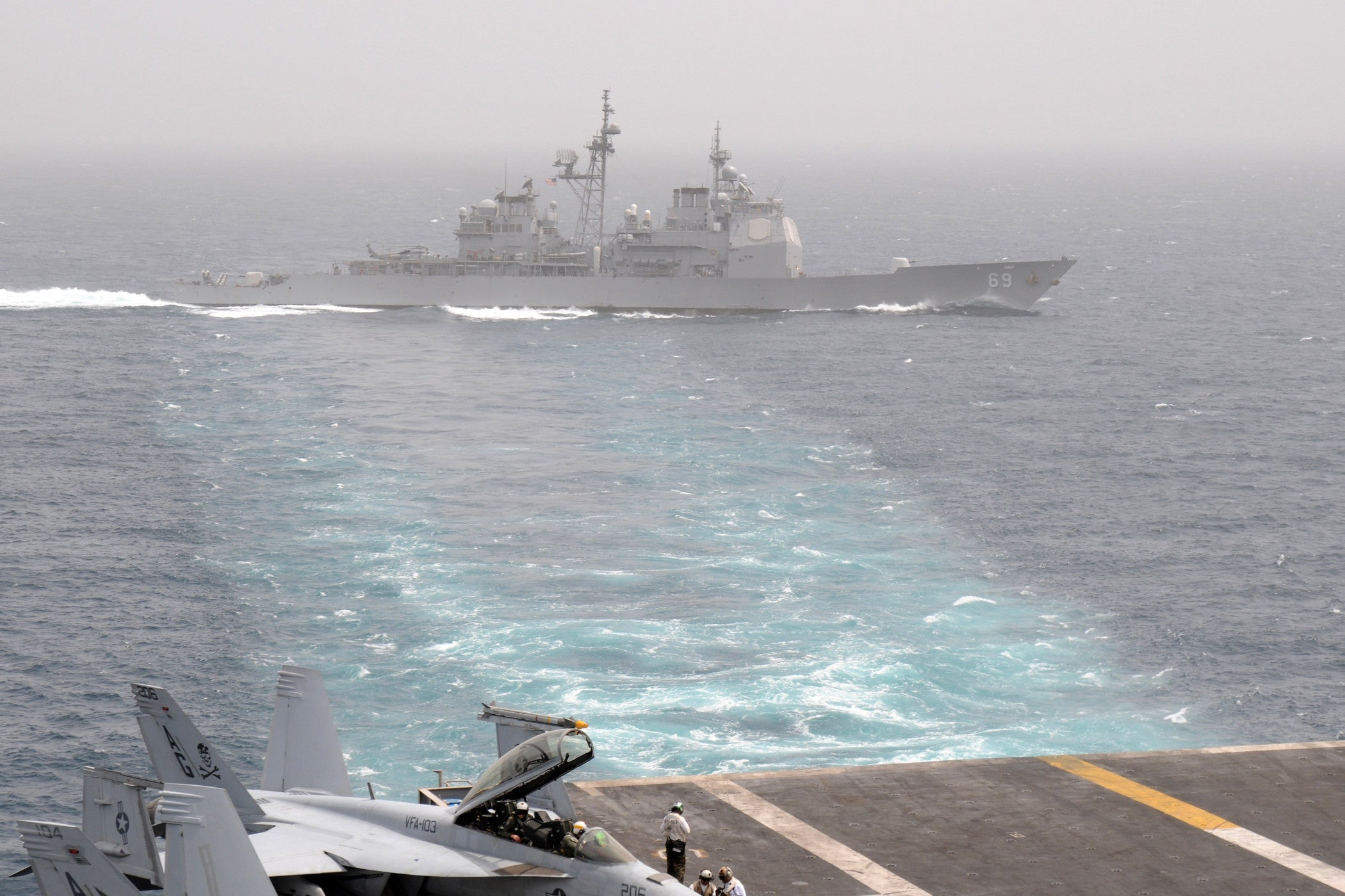 "USS Vicksburg CG-69 Alongside USS Dwight D. Eisenhower CVN-69 ARABIAN SEA (April 2, 2009) - 4"" x 6"" Photograph"