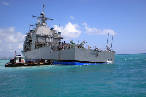 "USNS Salvor T-ARS 52 tries to free USS Port Royal CG-73 PEARL HARBOR (Feb. 7, 2009) - 4"" x 6"" Photograph"
