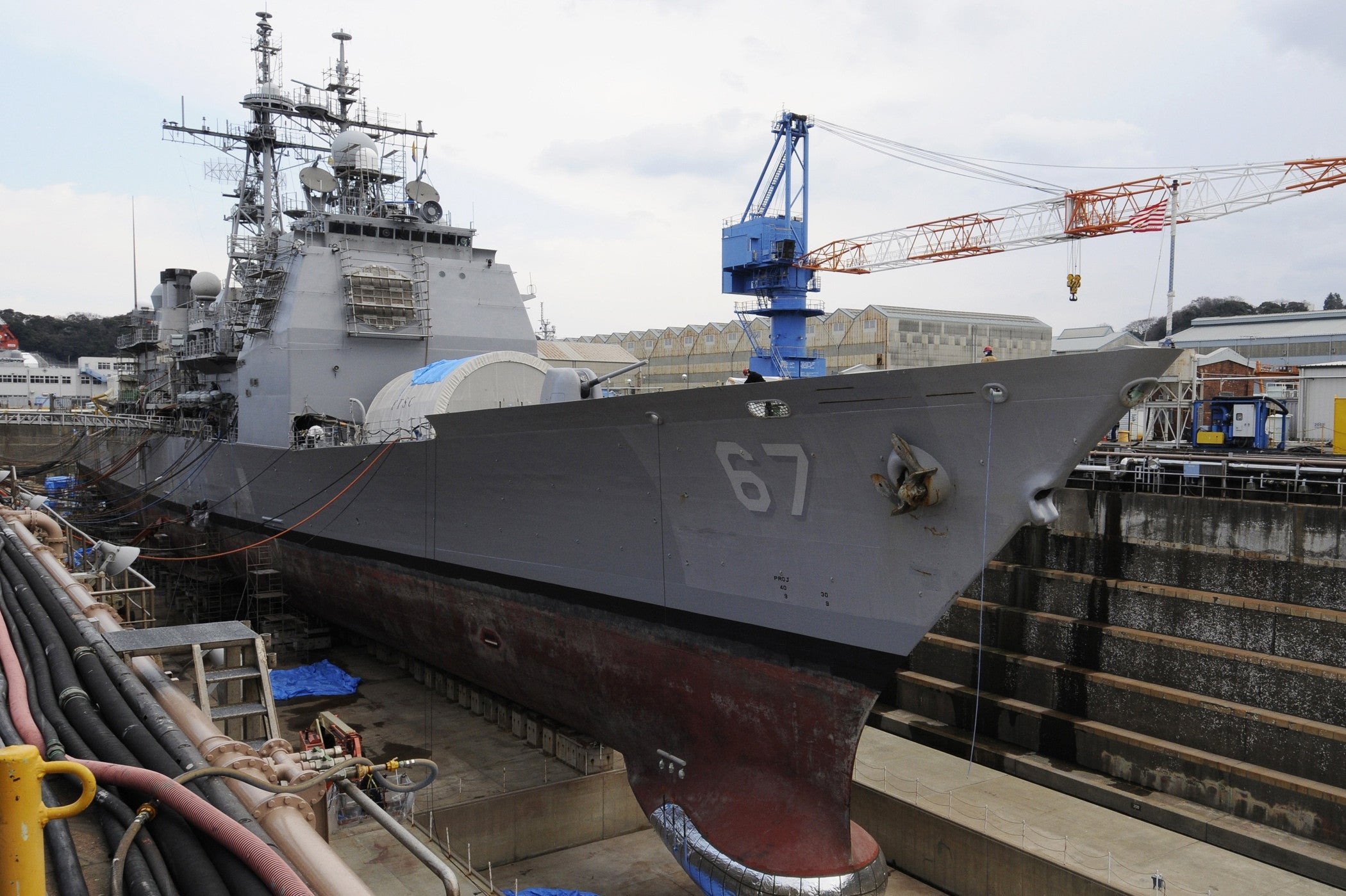 "USS Shiloh (CG 67) is in Dry Dock YOKOSUKA, Japan (Jan. 12, 2008) - 4"" x 6"" Photograph"
