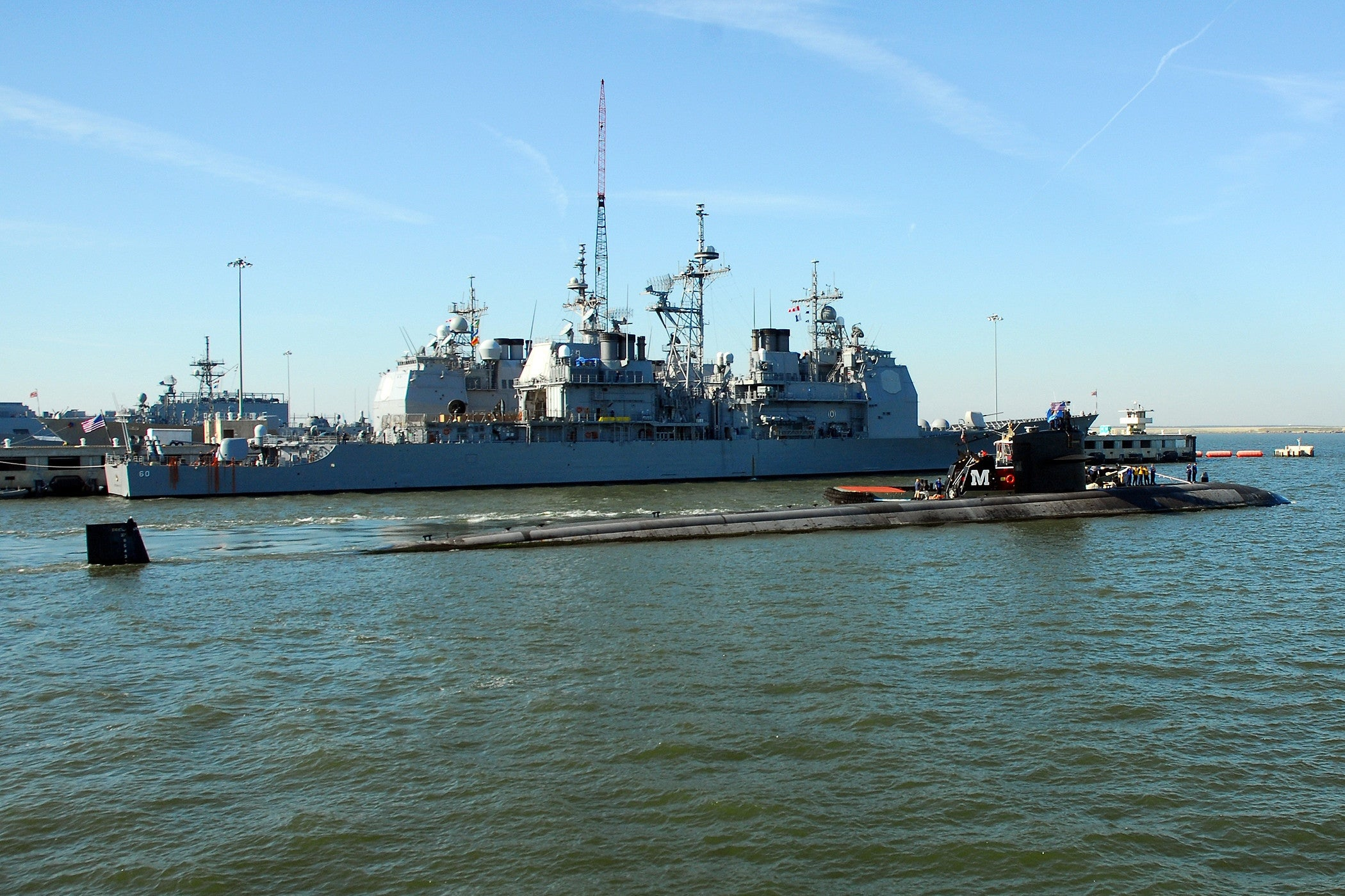 "USS Oklahoma City SSN-723 and USS Normandy CG-60 NORFOLK, Va. (Sept. 3, 2008) - 4"" x 6"" Photograph"