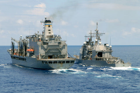 "USNS Leroy Grumman T-AO 195 and USS Vella Gulf CG-72 ATLANTIC OCEAN (July 13, 2008) - 4"" x 6"" Photograph"
