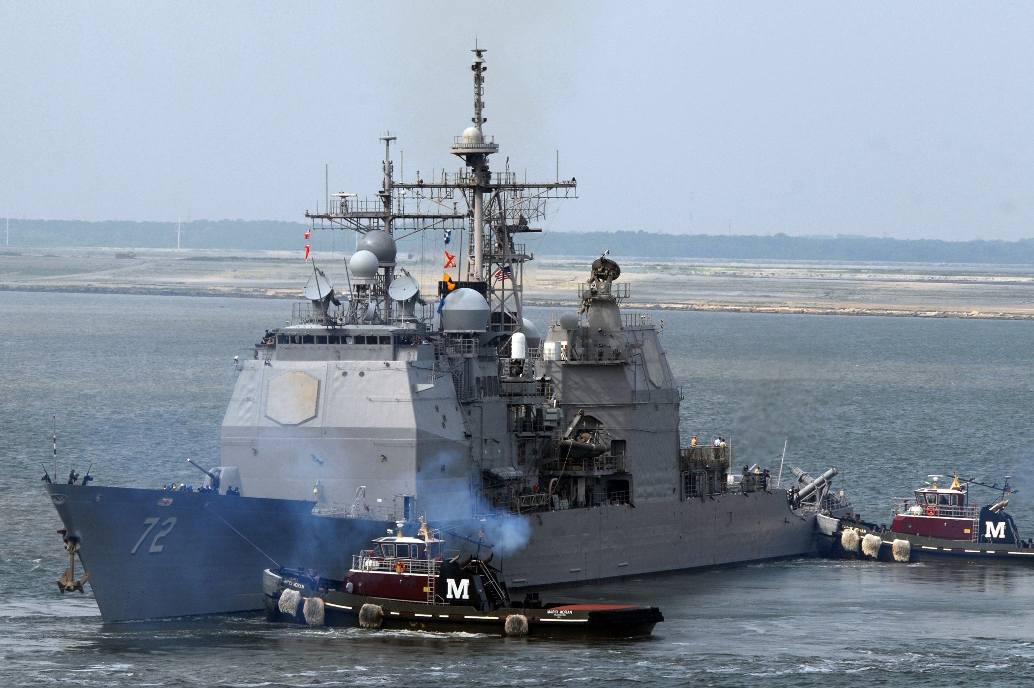 "USS Vella Gulf CG-72 Departs Naval Station Norfolk ATLANTIC OCEAN (July 8, 2008) - 4"" x 6"" Photograph"