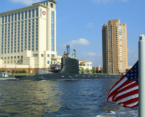 "PCU Virginia SSN-774 Passes the Skyline of Portsmouth, Va (Aug. 25, 2004) - 8 x 10"" Photograph"