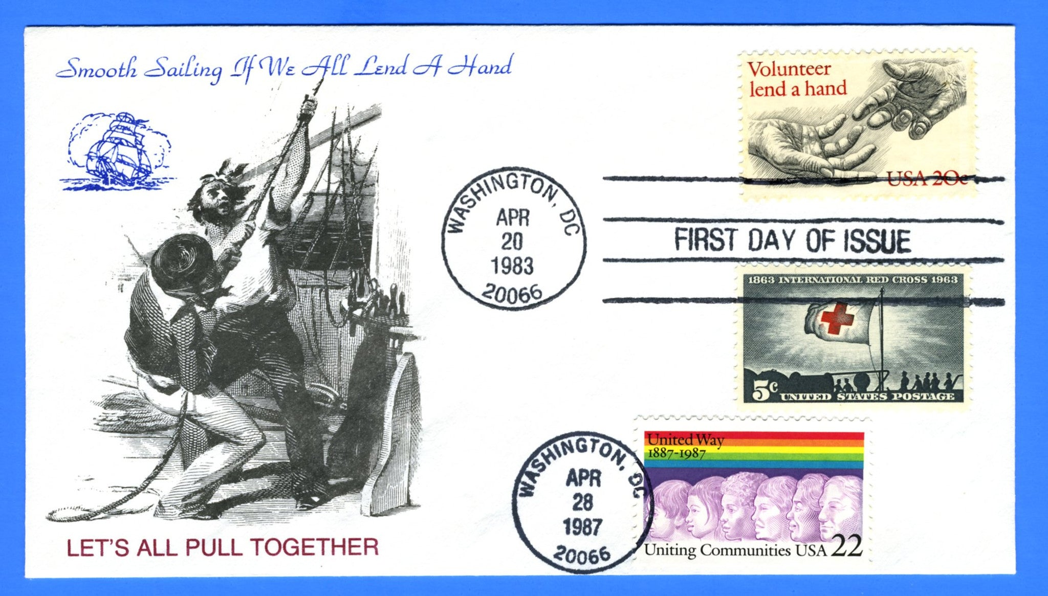 Scott 2039 20c Volunteer, Lend a Hand & Scott 2275 22c United Way Dual Issue First Day Cover by KMC Venture