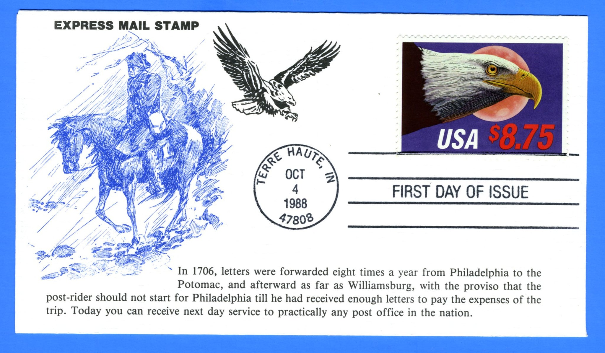 Scott 2394 $8.75 Eagle & Moon Express Mail First Day Cover by KMC Venture