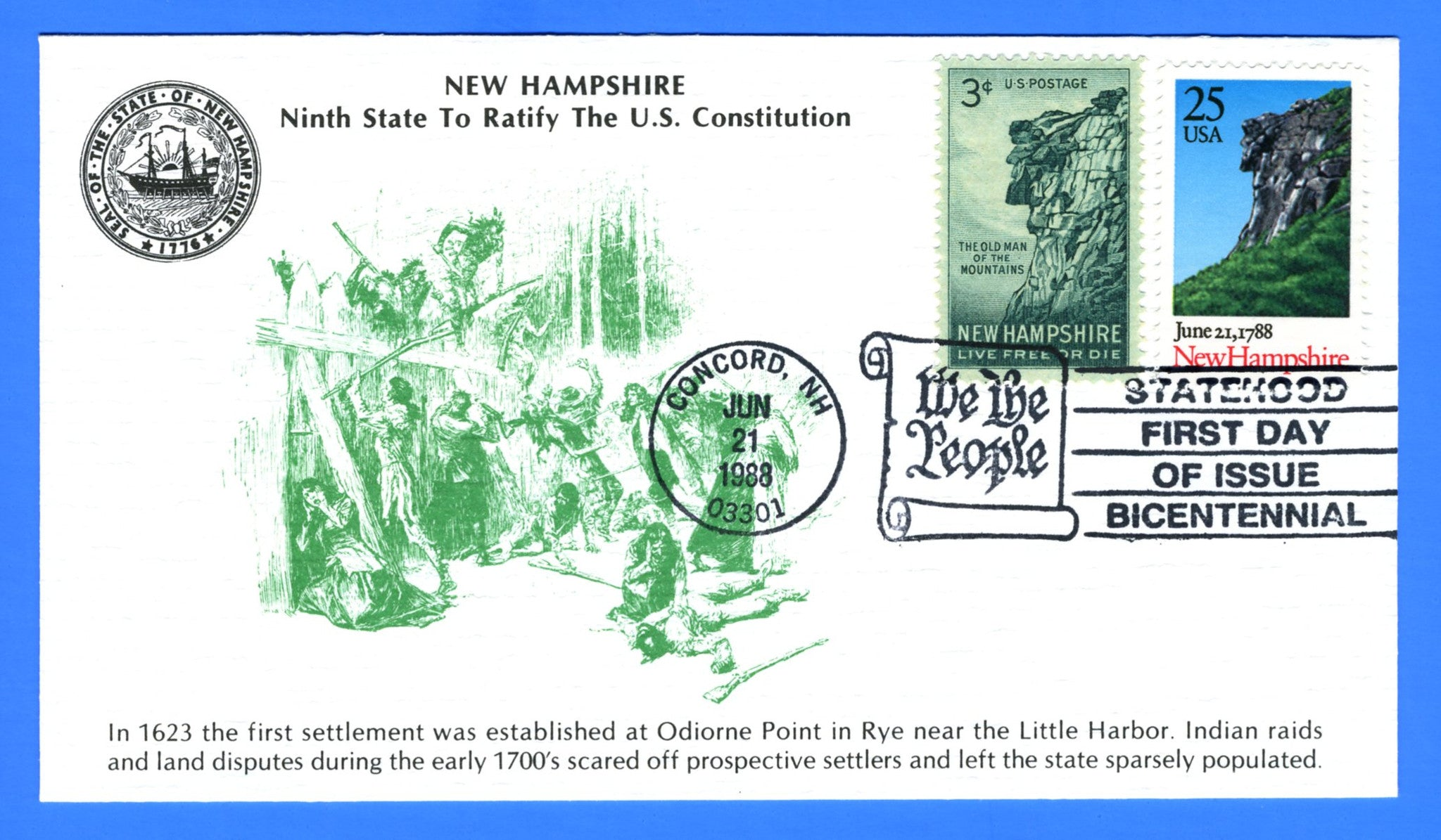 Scott 2344 25c New Hampshire Constitution Ratification Bicentennial First Day Cover by KMC Venture