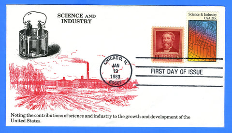 Scott 2031 20c Science & Industry Combo First Day Cover by KMC Venture