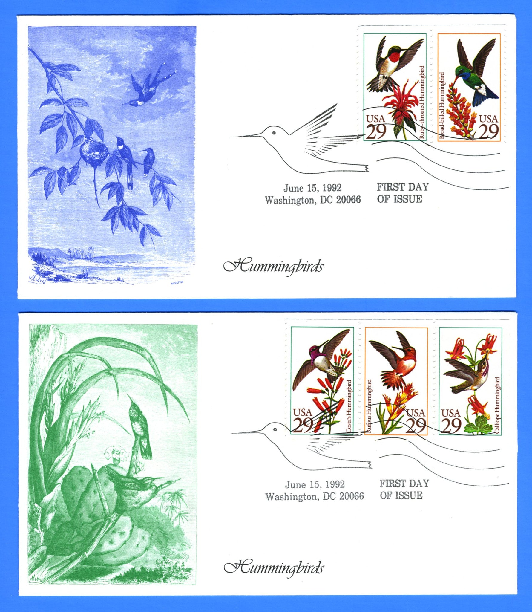 Scott 2646a 29c Hummingbirds Set of Two First Day Covers by KMC Venture