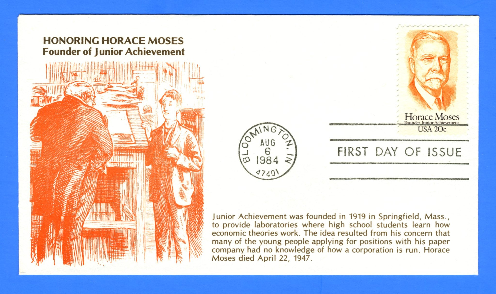 Scott 2095 Horace Moses Founder Junior Achievement First Day Cover by KMC Venture