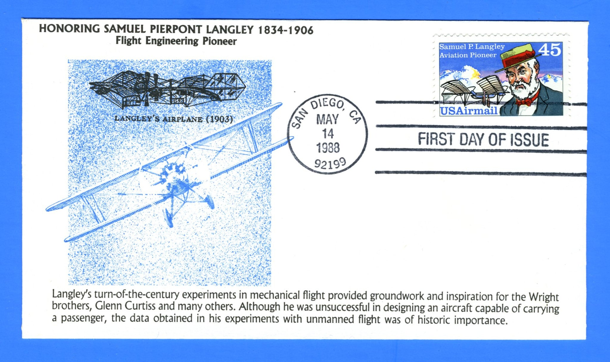 Scott C118 45c Samuel P. Langley Aviation Pioneer First Day Cover by KMC Venture