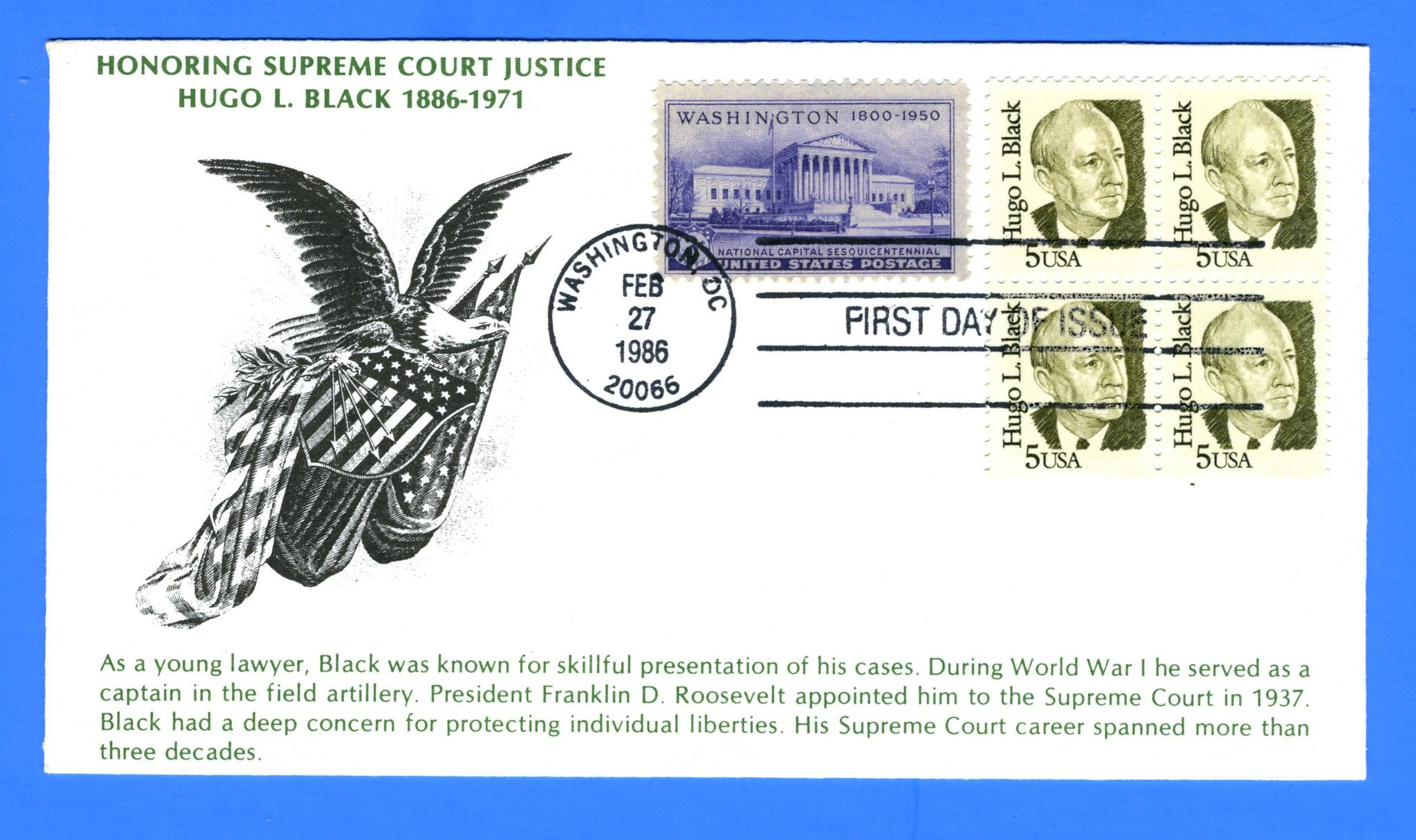 Scott 2172 5c Hugo L. Black First Day Cover by KMC Venture