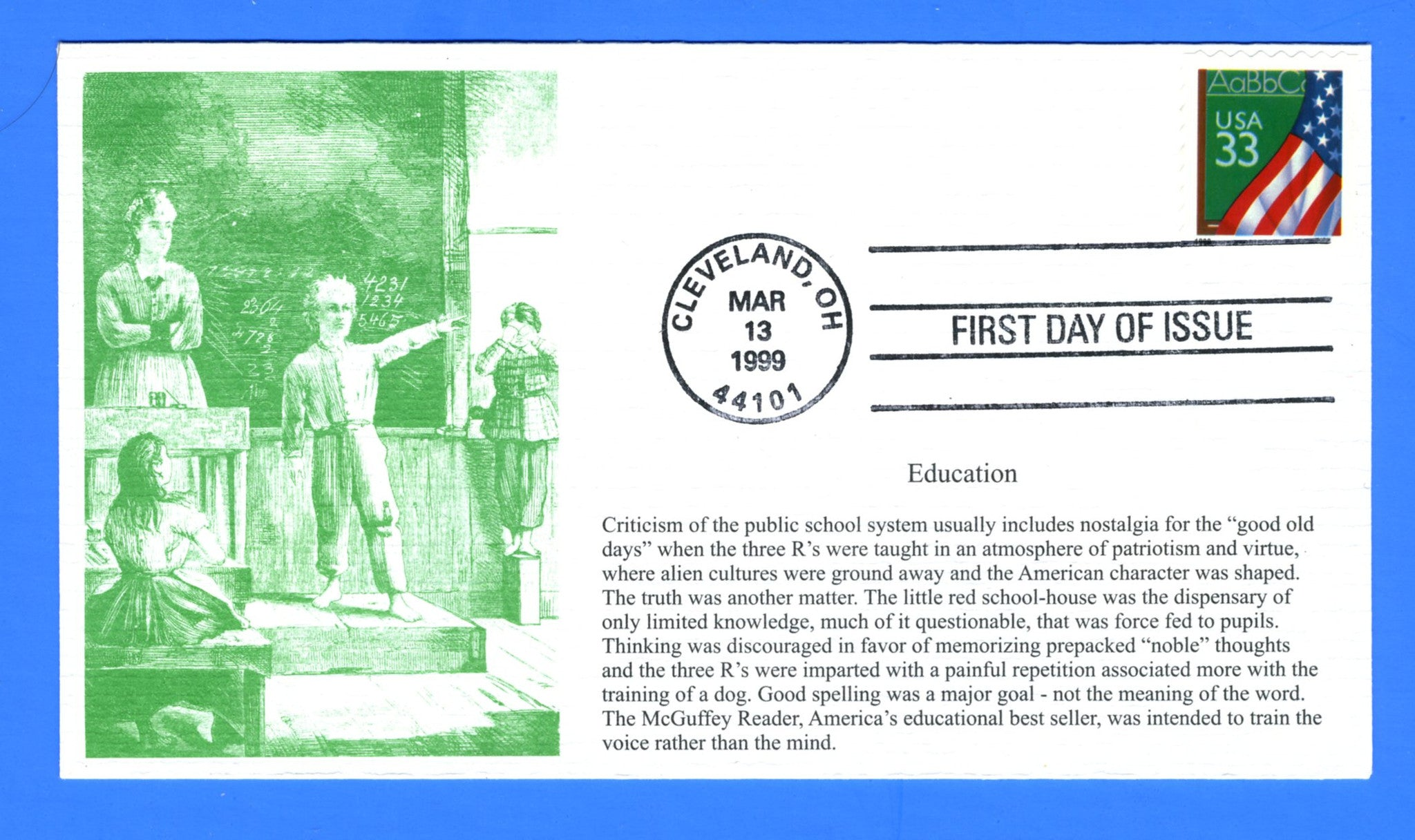 Scott 3283 33c Flag & Chalkboard First Day Cover by S & T Cachets