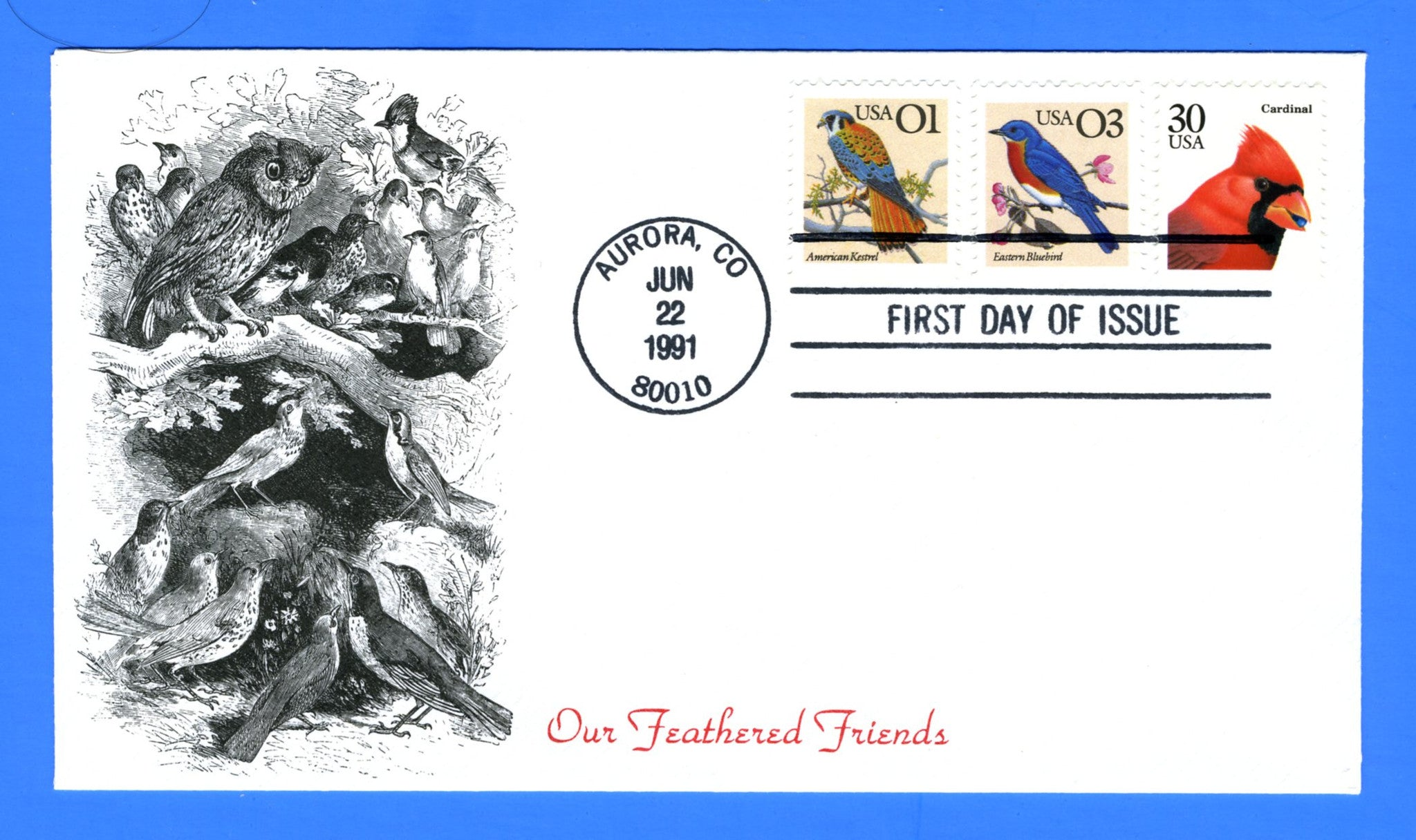 Scott 2240 30c Cardinal, 2476 01c Kestrel, and 2478 03c Eastern Bluebird First Day Cover by KMC Venture for all Three Issues