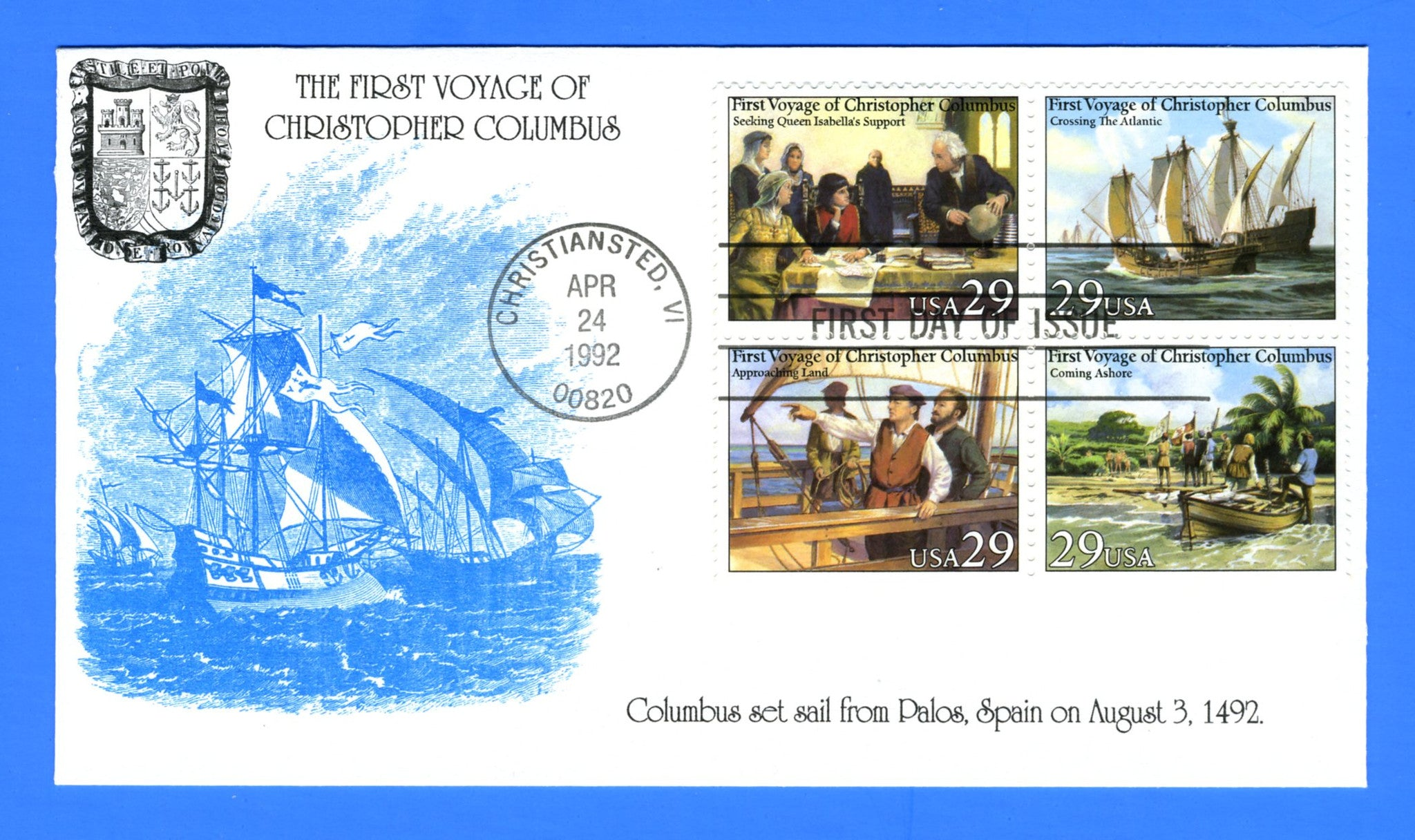 Scott 2623a 29c First Voyage of Columbus First Day Cover by KMC Venture